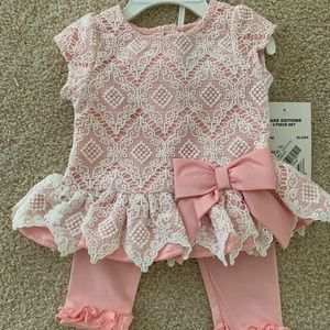 Rare Editions pink lace dressy top and pant set